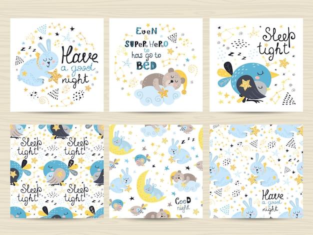 Conjunto de cartões para meninos pequenos