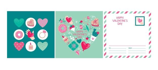 Conjunto de cartões para o dia dos namorados com elementos: coração, presente, anel, sobremesa