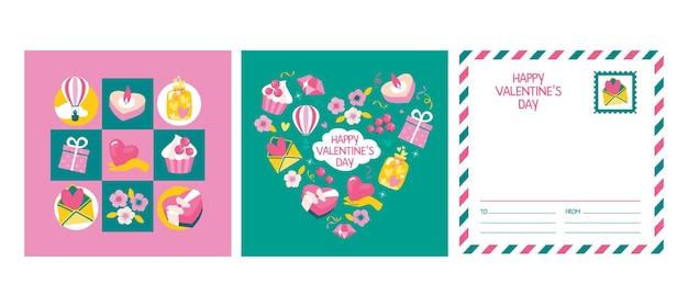 Conjunto de cartões para o dia dos namorados com elementos: coração, presente, balão, bolinho.