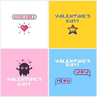 Conjunto de cartões para o dia dos namorados com ícones bonitos de pixel