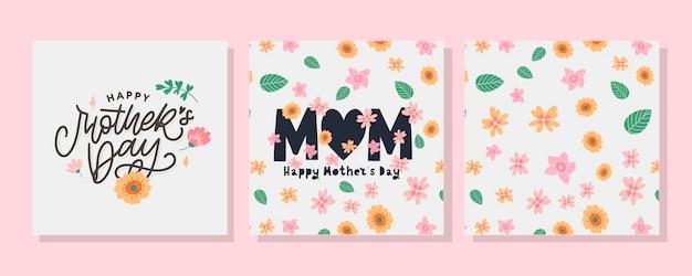 Conjunto de cartões para o feliz dia das mães. caligrafia e letras