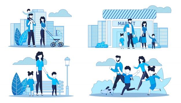 Conjunto de cartões planas com a família a passar tempo juntos