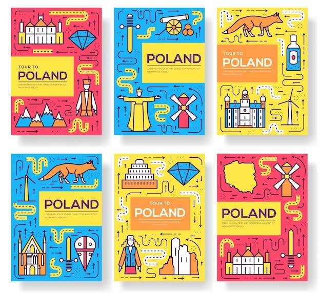 Conjunto de cartões polonês de linha fina