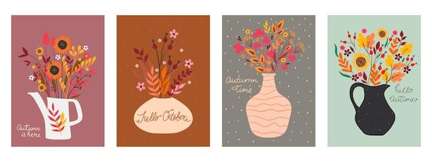 Conjunto de cartões postais com buquês de outono