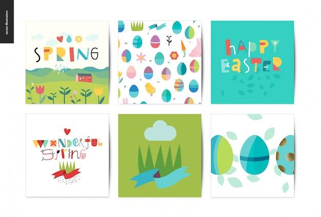 Conjunto de cartões postais de páscoa e primavera