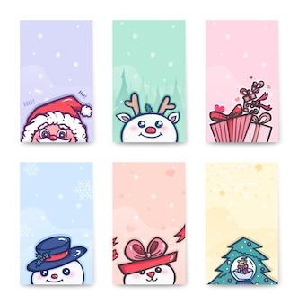 Conjunto de cartões postais de personagens fofinhos de natal