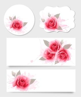 Conjunto de cartões-presente e banners com lindas flores.