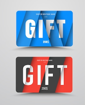 Conjunto de cartões-presente no estilo de design material com elementos diagonais e triangulares.