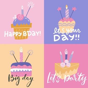 Conjunto de cartões quadrados coloridos de birthdat. feliz aniversário modelo posrcards com diferentes bolos rosa com velas e texto. design de cartão de estilo simples