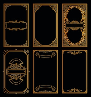Conjunto de cartões retro dourado vintage modelo de quadros caligráficos e desenho de floreios de gravura