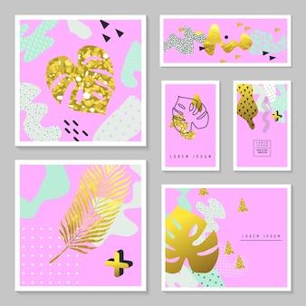 Conjunto de cartões tropicais de glitter dourado. memphis abstract poster, banner, modelo de cartaz com folhas de palmeira de ouro.