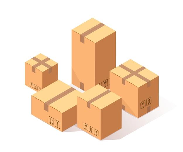 Conjunto de cartonagem isométrica, caixa de papelão em fundo branco. pacote de transporte na loja, conceito de distribuição.
