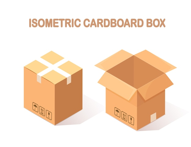 Conjunto de cartonagem isométrica, caixa de papelão em fundo branco.