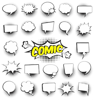 Conjunto de cartoon cômico discurso bolhas vazio diálogo nuvens