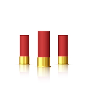 Conjunto de cartucho para espingarda. cartucho vermelho realista com reflexo isolado no branco.