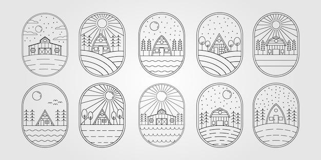 Conjunto de casa de campo ou pacote de celeiro ou coleção de design de ilustração vetorial de logotipo de cabine