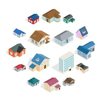Conjunto de casa de cidade de casa de campo, estilo isométrico