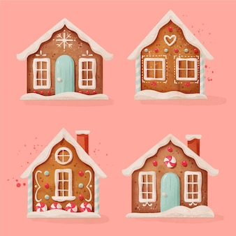 Conjunto de casa de pão de mel aquarela
