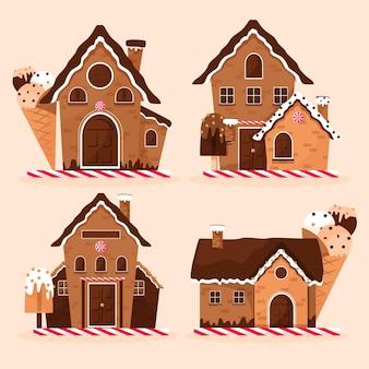 Conjunto de casa de pão de mel de design plano