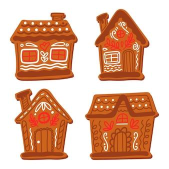 Conjunto de casa de pão de mel desenhado à mão