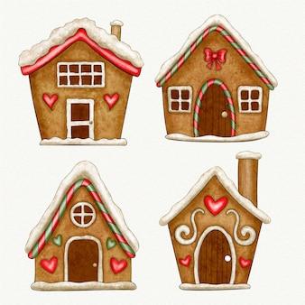 Conjunto de casa de pão de mel em aquarela