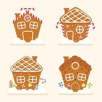 Conjunto de casa de pão de mel