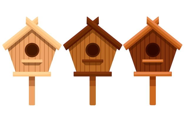 Conjunto de casa de pássaro de madeira. caixa de assentamento de diferentes tipos de madeira. ilustração em fundo branco