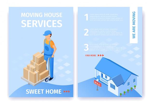 Conjunto de casa em movimento serviços sweet home flyer
