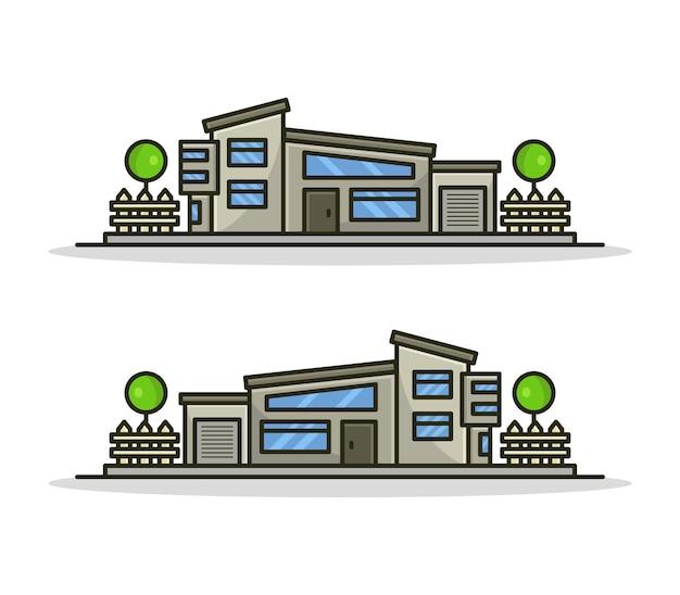 Conjunto de casa ilustrada de desenho animado