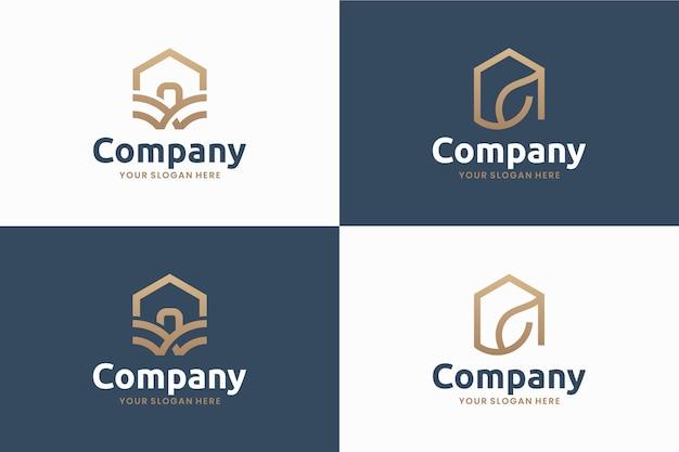 Conjunto de casa natural, arte de linha, inspiração de design de logotipo