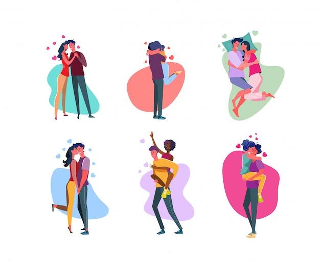 Conjunto de casais afetuosos, abraçando no amor