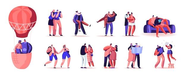 Conjunto de casais amorosos, pessoas felizes, relações amorosas