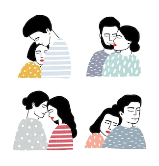 Conjunto de casais apaixonados. retratos de rapazes e raparigas amorosos. coleção de abraços e beijos suaves. ilustração vetorial colorida no estilo cartoon.