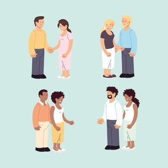 Conjunto de casais, casais românticos e felizes, abraçando e beijando
