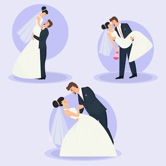 Conjunto de casais de casamento