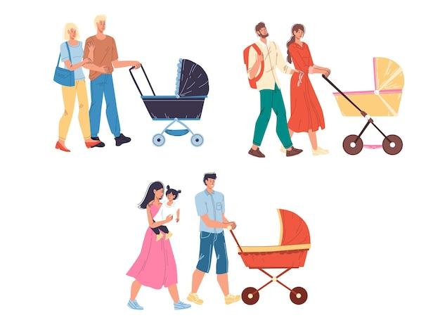 Conjunto de casais de personagens de família feliz de desenho animado, caminhando ao ar livre com um carrinho de bebê