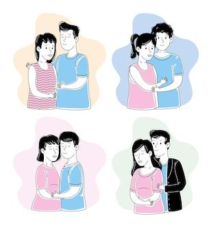 Conjunto de casais demonstrando carinho
