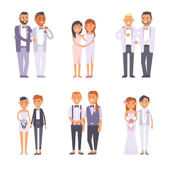 Conjunto de casais gays de casamento.