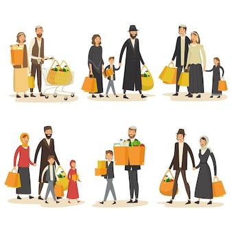 Conjunto de casais hebreus no shopping
