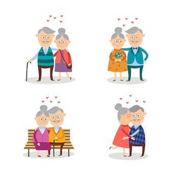 Conjunto de casais idosos apaixonados