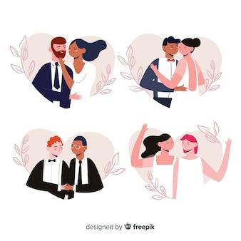 Conjunto de casal casamento mão desenhada