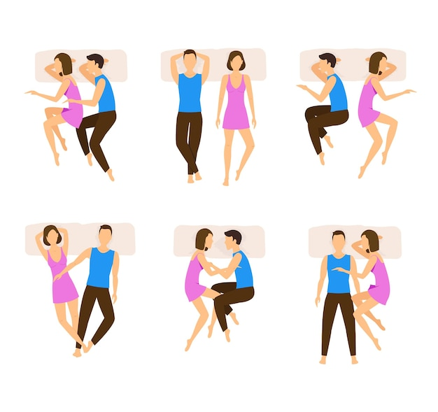Conjunto de casal com diferentes poses de dormir