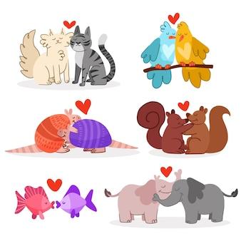 Conjunto de casal de animais desenhado à mão para o dia dos namorados