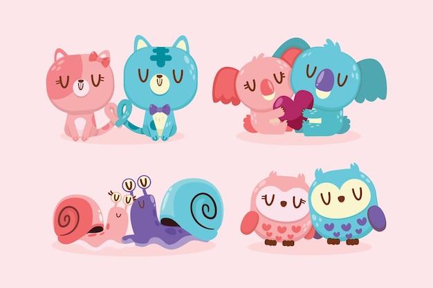 Conjunto de casal de animais fofos para o dia dos namorados