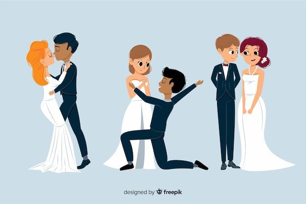 Conjunto de casal de noivos bonitos mão desenhada