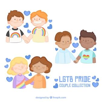 Conjunto de casal de orgulho lgtb