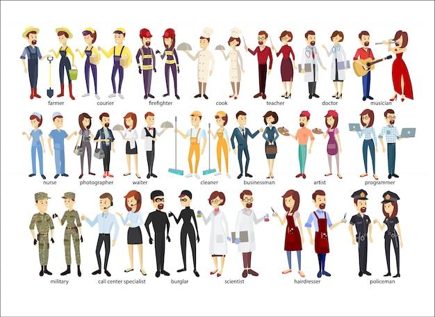 Conjunto de casal de profissão. polícia e bombeiros, empresários e médicos.