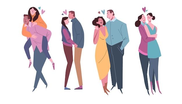 Conjunto de casal desenhado à mão para o dia dos namorados