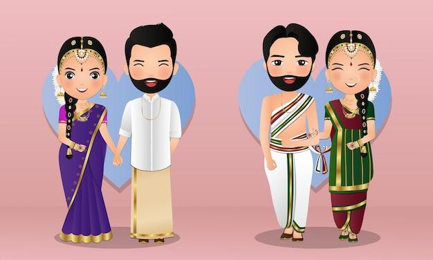 Conjunto de casal fofo no vestido tradicional indiano de personagens de desenhos animados noiva e noivo. cartão de convites de casamento.