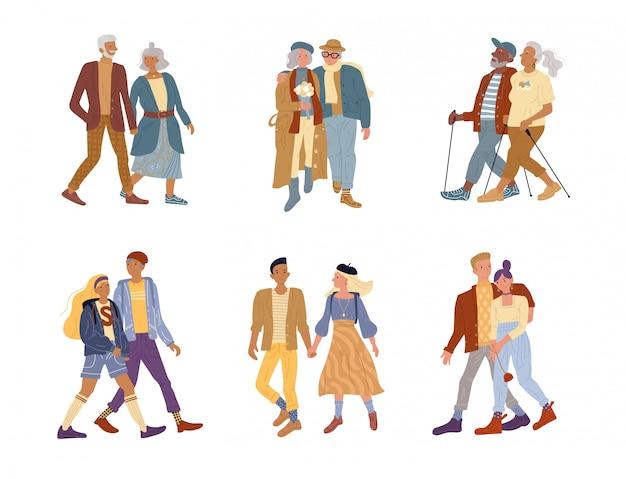 Conjunto de casal isolado idosos vs jovens gerações